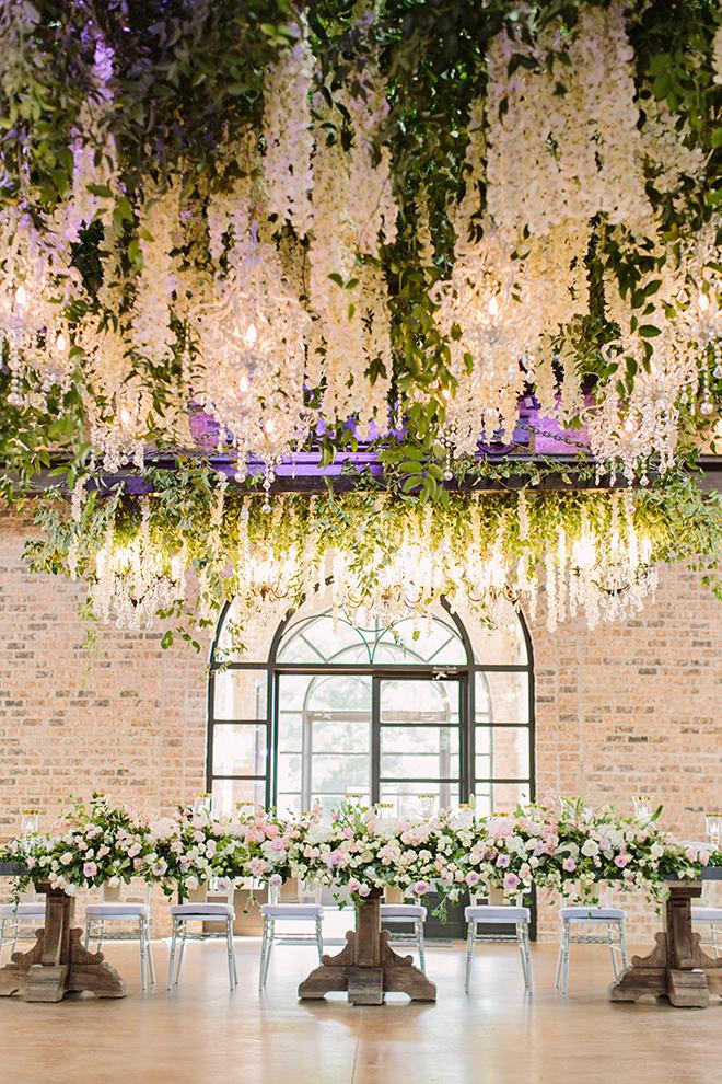 white roses, fairytale wedding, greenery, iron manor, plants n petals, plants n petals, reception decor, ceiling decor, flower garland, greenery garland, unique wedding decor