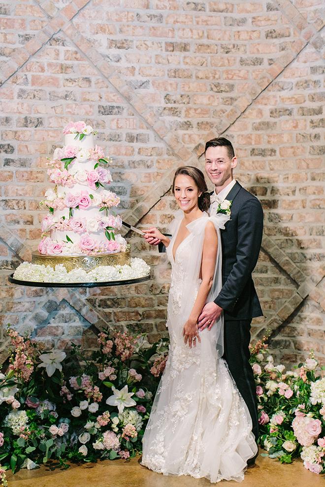 wedding cake, white, pink, blush, flower accents, five tier, bride, groom