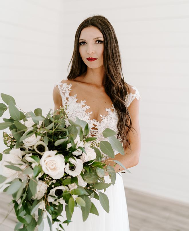 bridal portrait, bridal bouquet, emily figurelli photography, lace bridal gown, bridal makeup