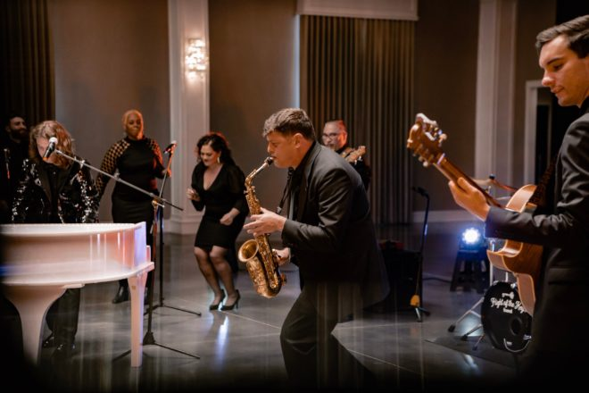 wedding band, entertainment, dancing, microphone, instruments, suit, music, guitar, drums,, the flight of the keys