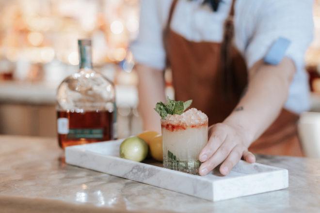 cocktail, bar, bourbon steward, Four Seasons, styled shoot, wedding styled shoot, wedding details, signature cocktail, lime, marble