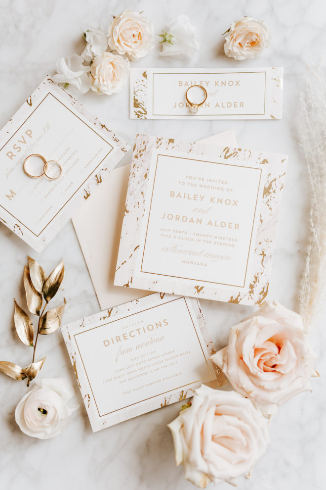 invitation suite, blush, gold, white, roses, rings, minted, painterly, marble, flat lay, custom invitations, RSVP, Four Seasons Hotel Houston, modern