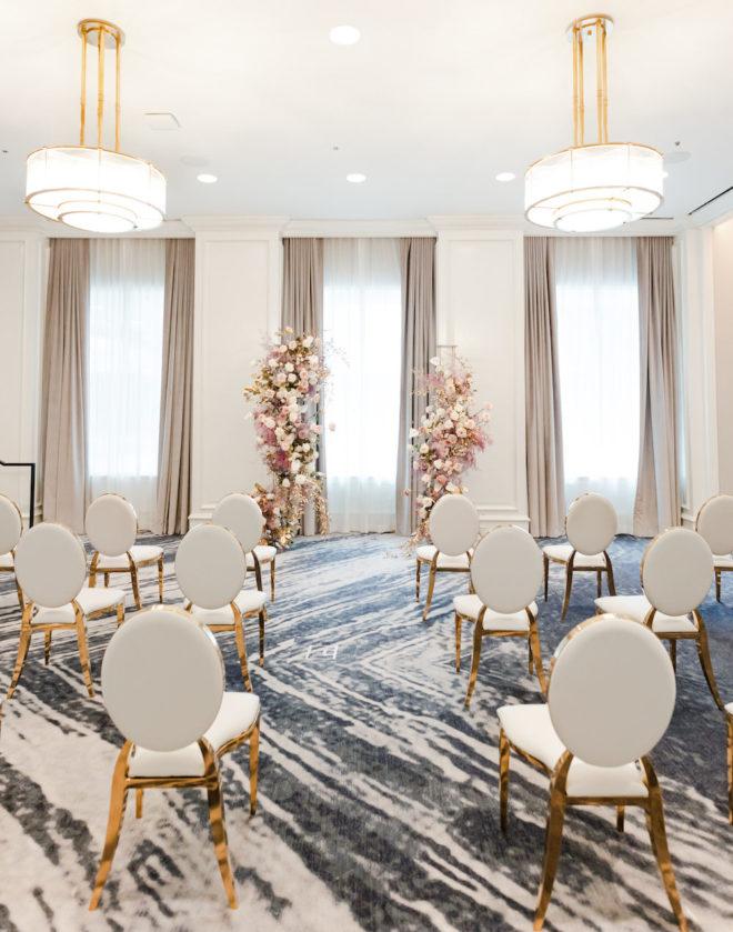 Contemporary, ceremony, bright, spacious, ballroom, Four Seasons Hotel, blush, mauve, white, drapery, windows, gray, blue, abstract, modern, renovated