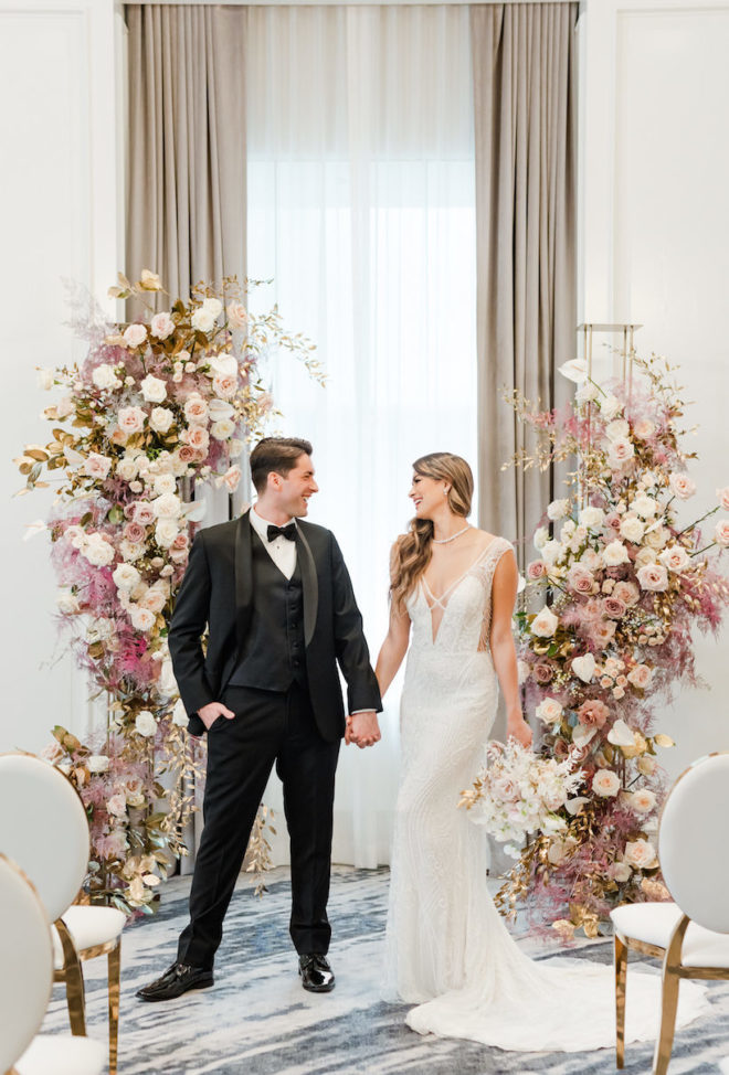 florals, rose, bride and groom, ceremony, bouquet, ballroom, Four Seasons Houston, romantic, gown, train