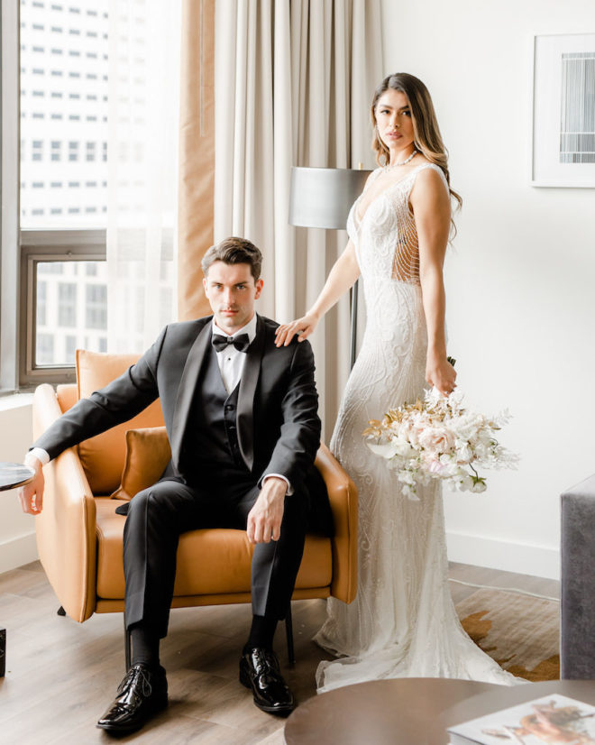 Bella Ame Bridal, intimate wedding, modern, refined, leather, hotel suite, neutral, earthy tones, roses, buildings, downtown, Houston, Four Seasons Hotel