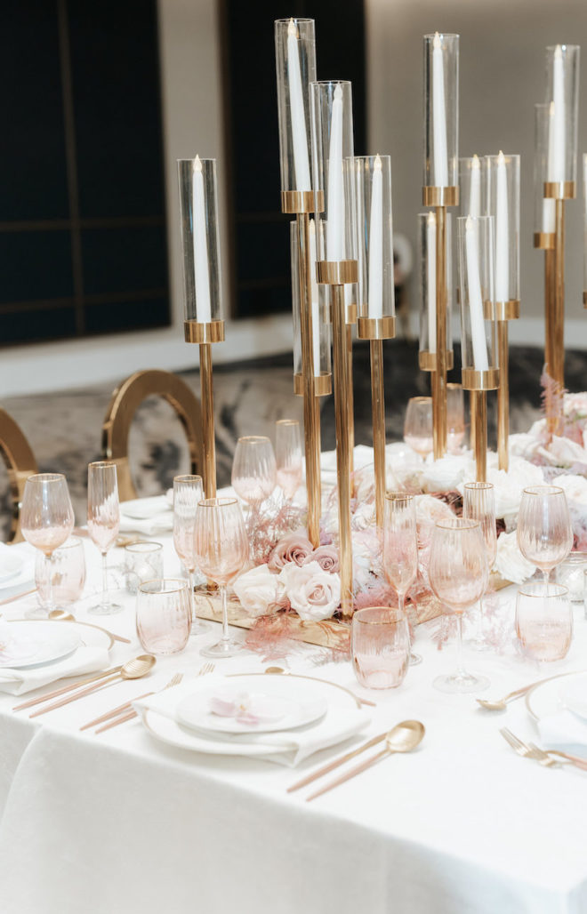 Malleret Designs, tablescape, head table, wedding table, candle holders, gold, vintage inspired, cutlery, place setting, roses, blush, mauve, white, ballroom, romantic, Four Seasons Hotel Houston, reception