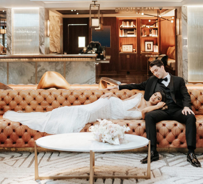 intimate, leather, midcentury, modern industrial, interior, hotel lobby, Four Seasons Hotel, hotel wedding venue, modern, beaded gown, tuxedo