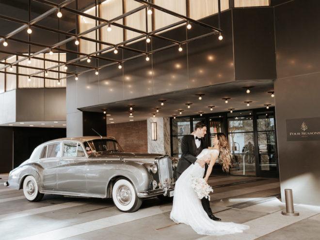 Four Seasons Hotel Houston, getaway car, vintage car, luxury transportation, bouquet, polished