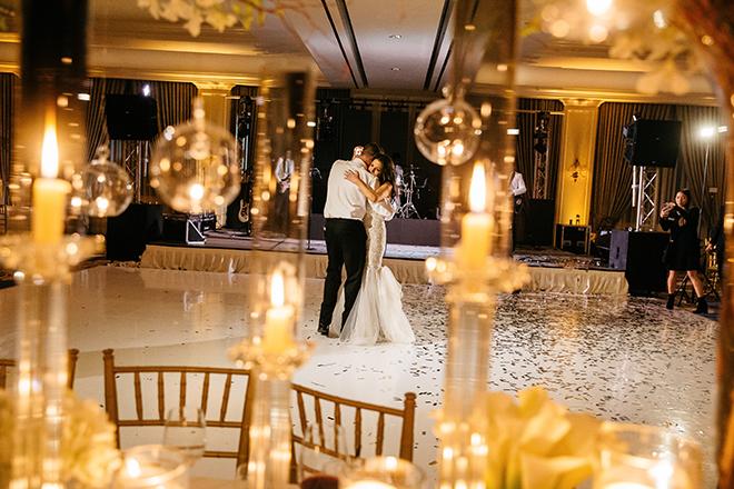 last dance, bride, groom, candles, golden, amber lighting