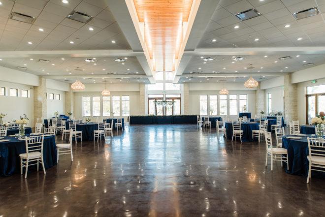 modern, reception, white, blue, hydrangea, open concept, farm table, greenery, abstract, dance floor