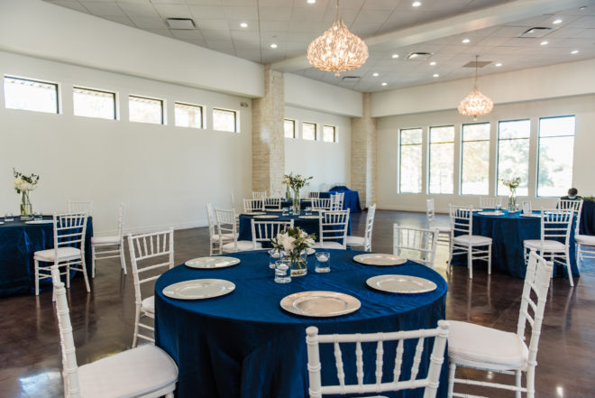 blue, metallic, table settings, hydrangea, floral, white, clean, modern, streamlined. open concept, bright, airy, ballroom, abstract, chandelier