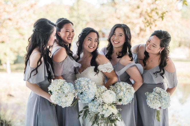 bridesmaids, lavender, bouquet, blue, hydrangea, alfresco, wedding gown, lace, bridal style, bride tribe, outdoors