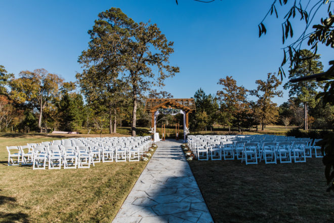 outdoor, ceremony, green, wooded, pergola, floral, white, garden