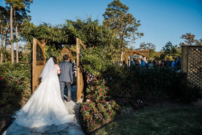 bride, greenery, flower, grass, trees, lace, veil, suit, white, pergola, ceremony