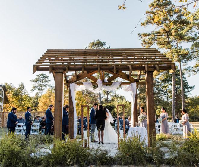 greenery, bride, groom, sky, ceremony, fern, trees, white