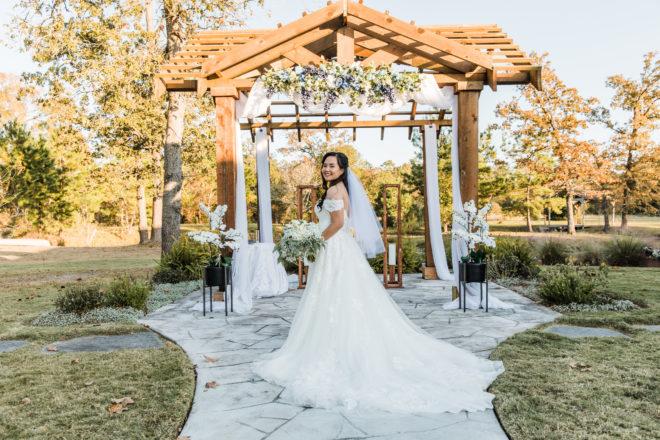 pergola, bridal gown, lace, alfresco, hydrangea, greenery, outdoor, bridal, veil, bouquet