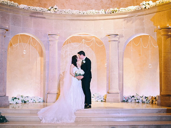 bride, groom, ceremony decor, bridal bouquet, on site chapel, bell tower on 34th, white flowers
