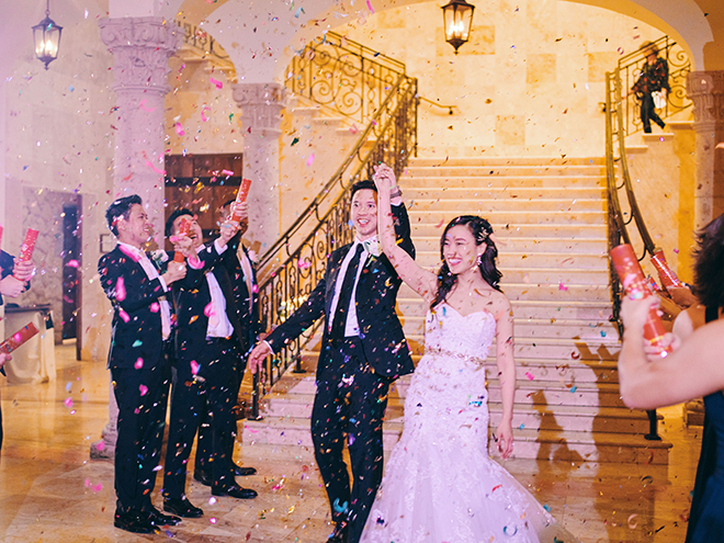 grand exit, confetti, sendoff, bride, groom, cannons, poppers, Bell Tower on 34th