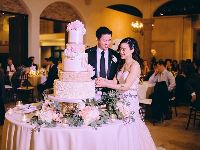 white, gold, blush, wedding cake, flowers, monogram