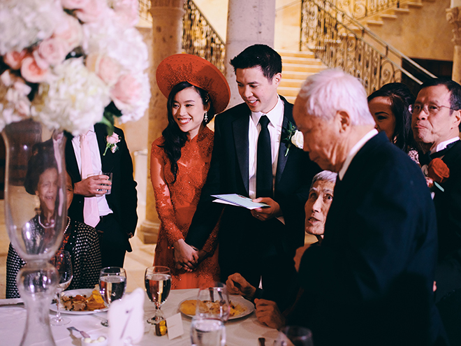 Vietnamese wedding, elegant, european inspired wedding, traditional, Vietnamese bride, traditional Vietnamese dress, red