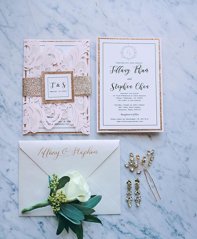 blush, gold, white, hair pin, wedding, invitations, stationery, cute, pretty, classic