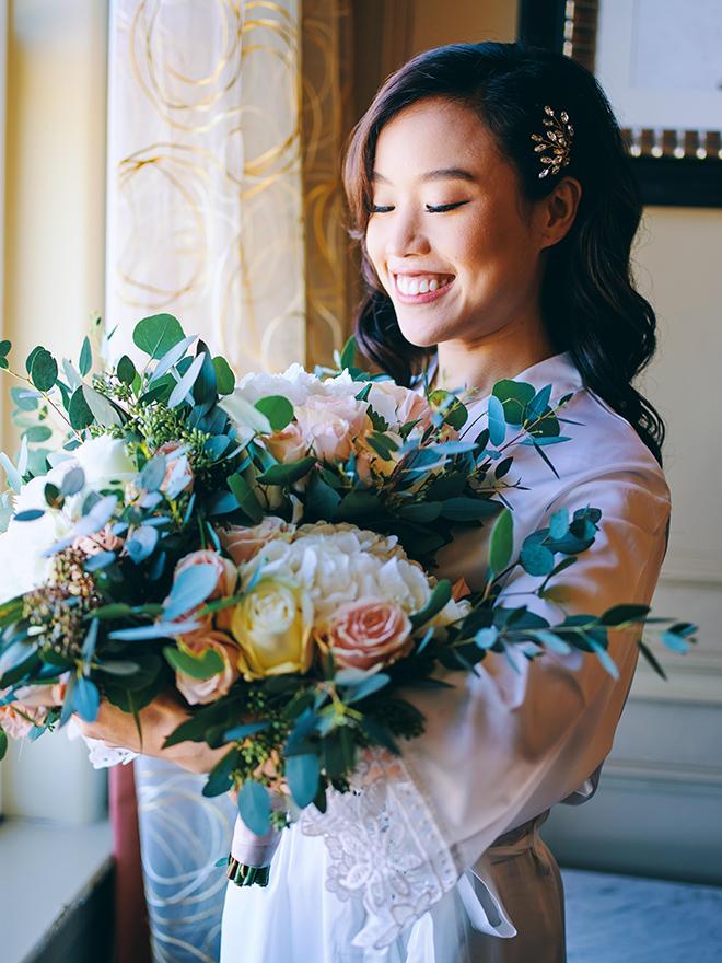 bridal bouquet, bridal robe, getting ready, bridal hair, bridal makeup