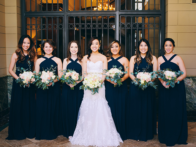 bride, bridesmaids, bridal party, bride tribe, strapless bridal gown, bridal bouquet