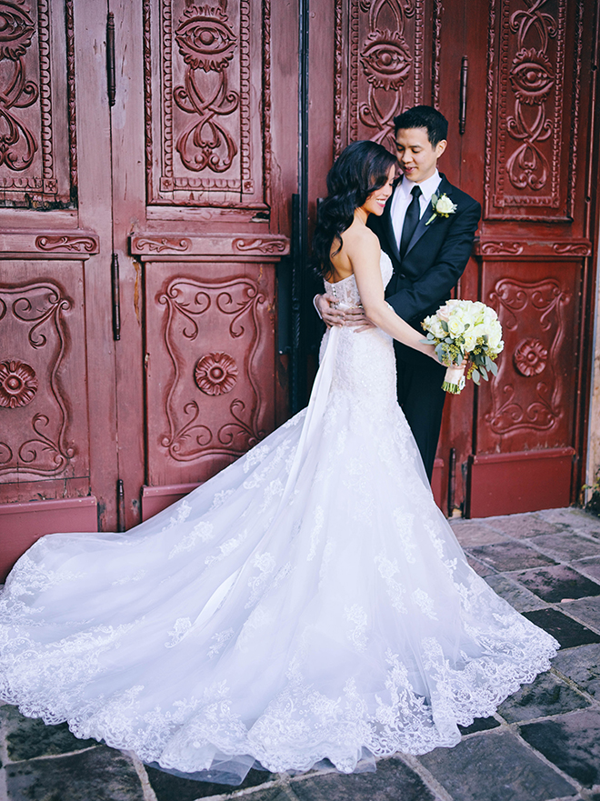 bride, groom, couple portraits, bell tower on 34th, ivy covered wall, unique, bridal gown, groom's suit, bridal bouquet, strapless