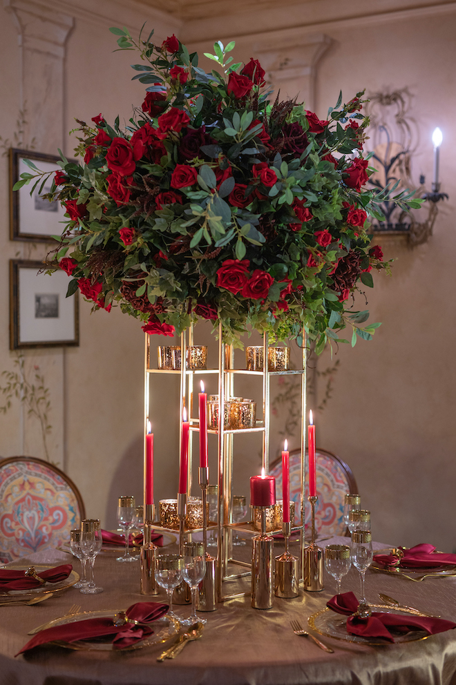 Romantic red rose table set up , style shoot, dc stanley photography