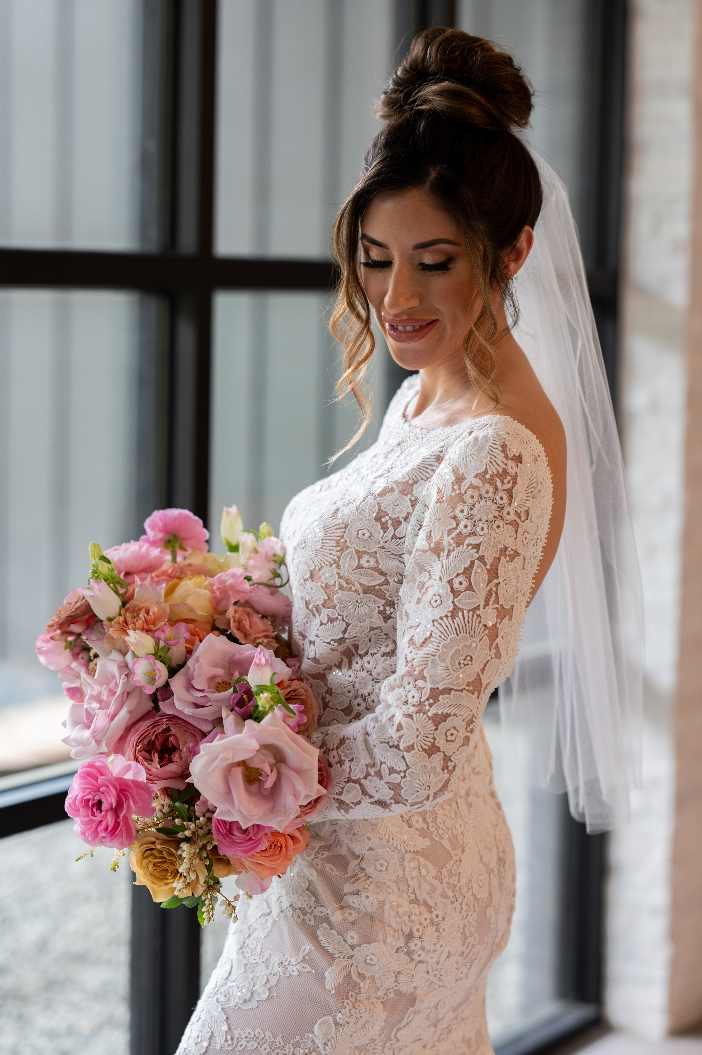 Modern Affinity bridal lace gown.