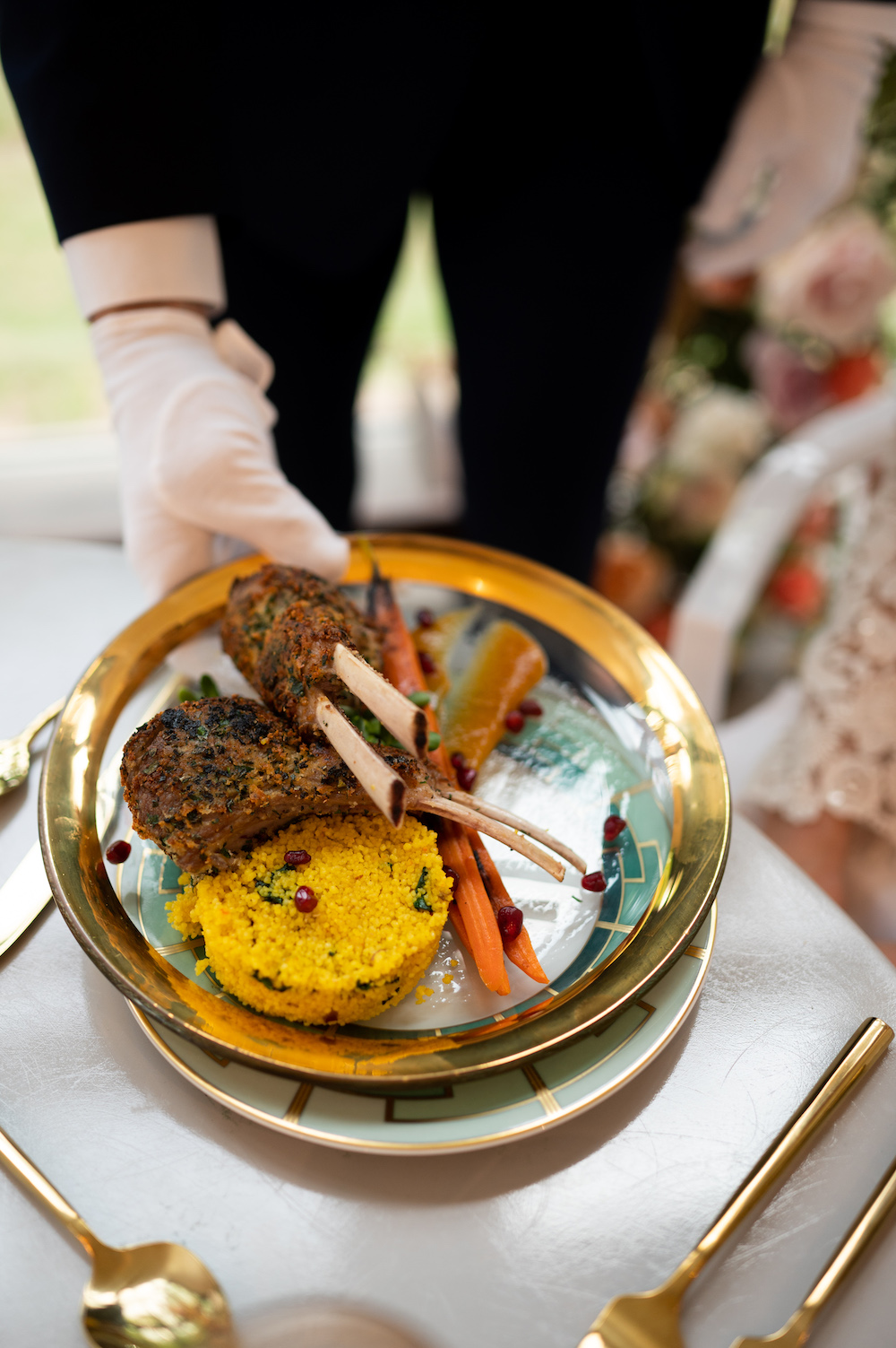 Lambchops with carrots and yellow rice by southern cadence cuisine.
