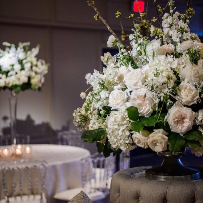 White rose floral arrangement decor in venue by tanglewood flowers and garden