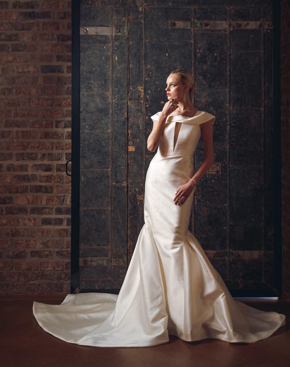 Cream Satin Wedding gown.