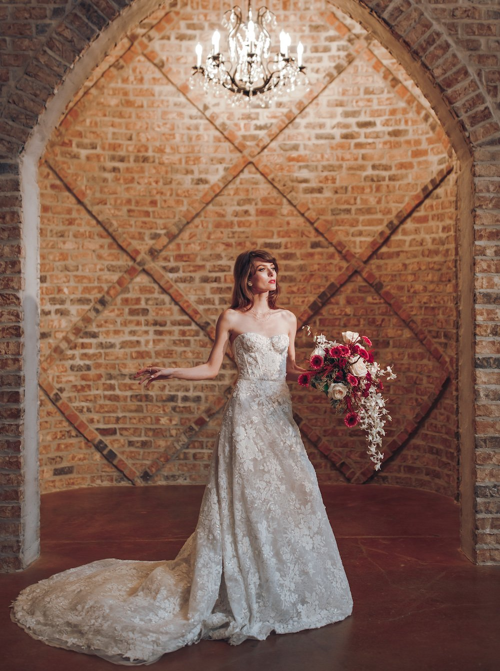 Lace strapless bridal gown.