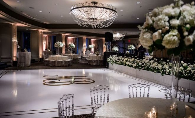 Wedding venue with white florals.