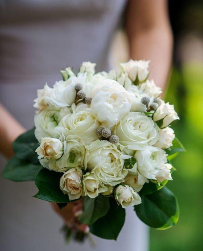 White rose floral bouquet.