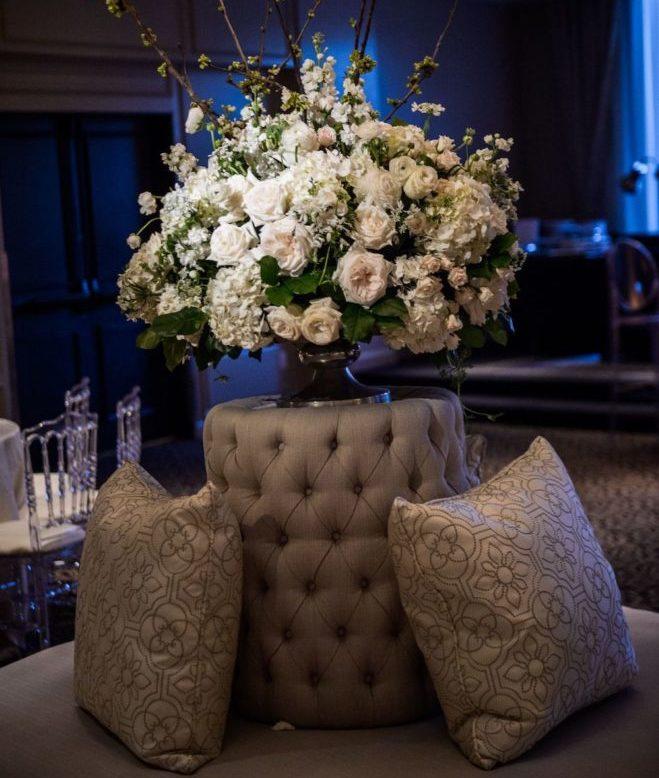 White floral wedding arrangements.