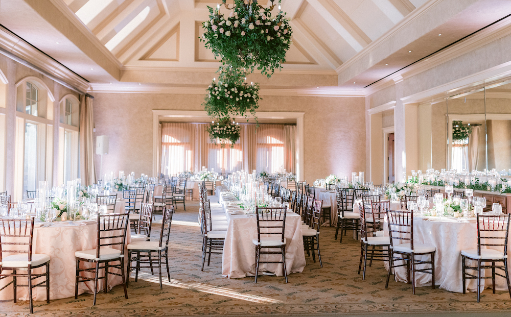 Neutral, classic, and ethereal reception set up at Royal Oaks Country Club.