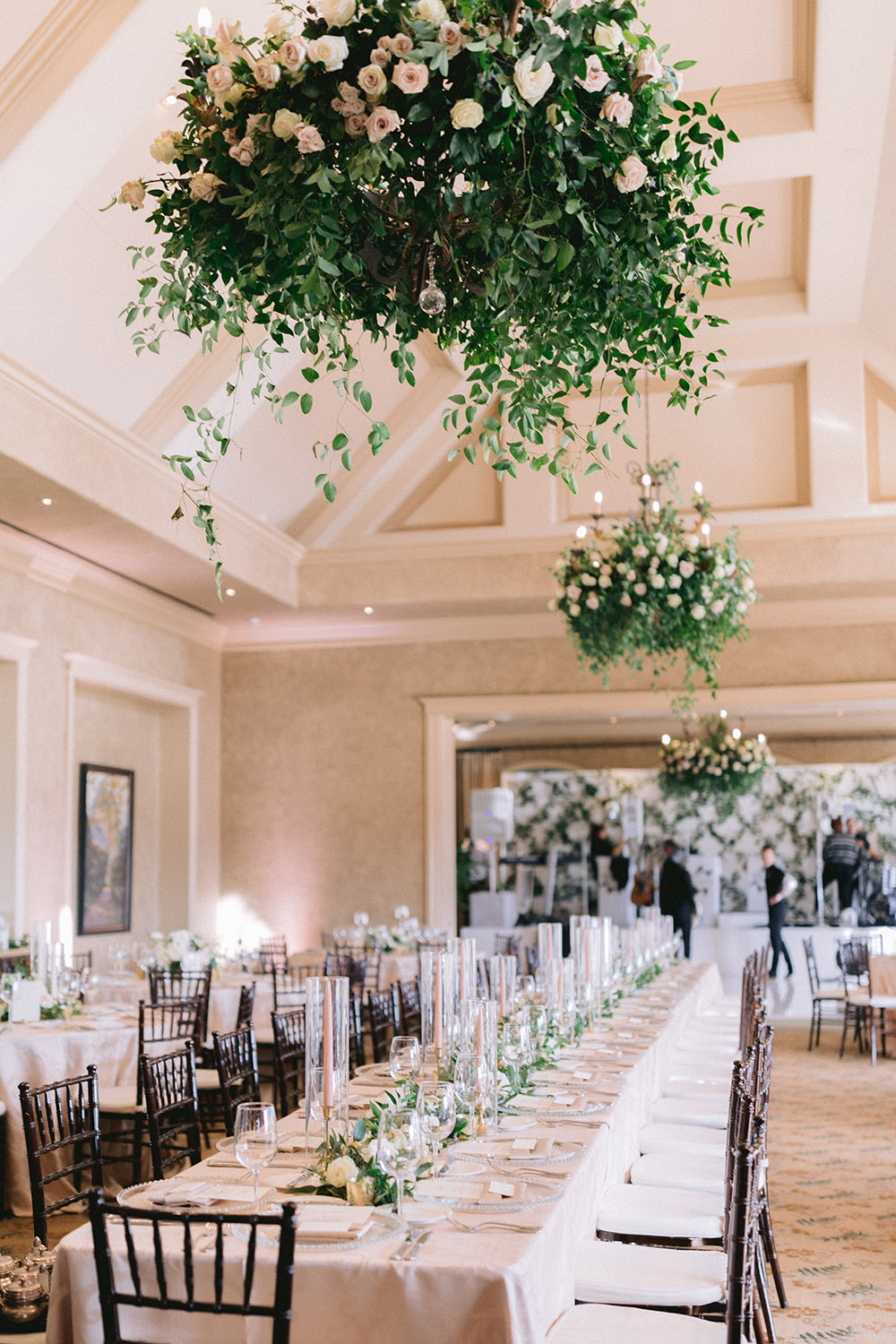 Elegant and classic reception decor and set up at the royal oaks country club.