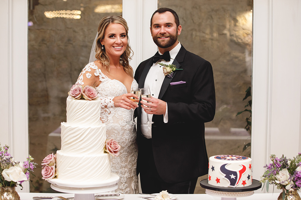 Texans football wedding cake and 3-tiered buttercream cake with lilac florals.