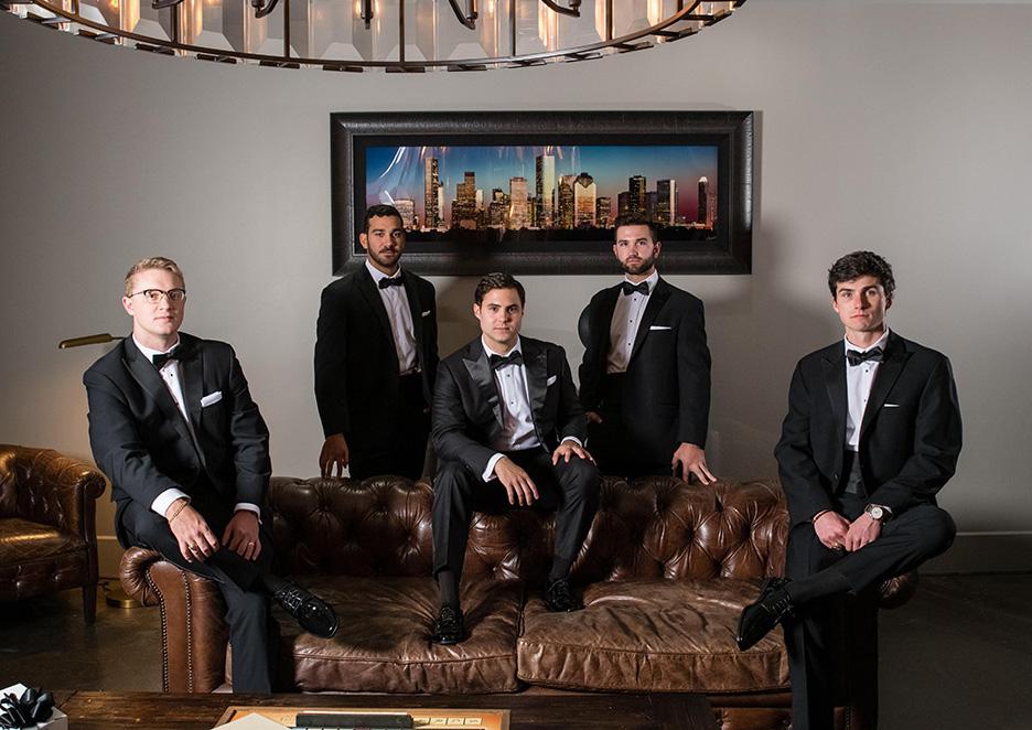 Groom and groomsmen in the Astorias groom lounge.