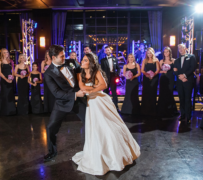Bride and groom's first dance at The Astorian.