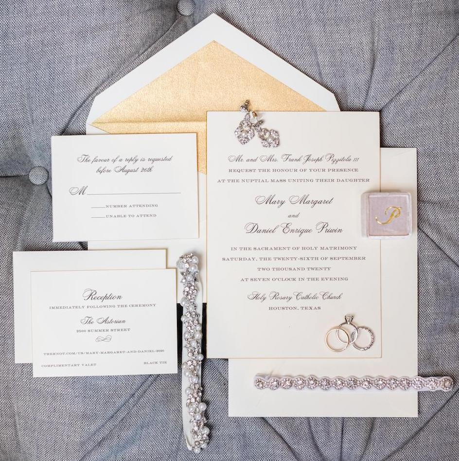 Diamond and lavender invitations from Berings Hardware.