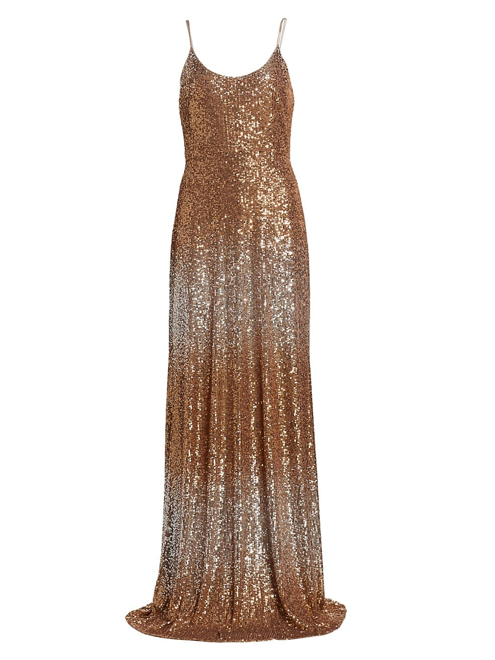 Silver and gold spaghetti strap sequin gown for fall.
