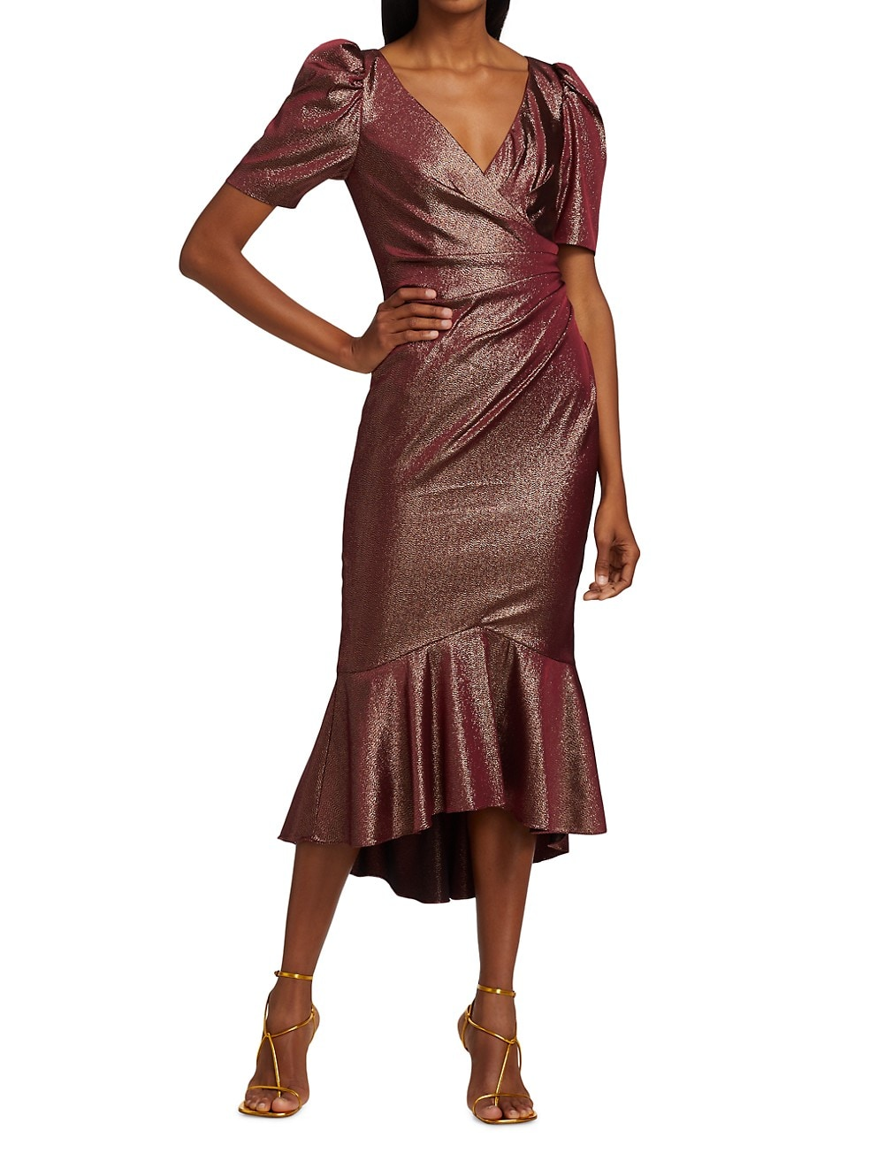 Fall midi dress with shimmering metallic copper fabric and puff sleeves.