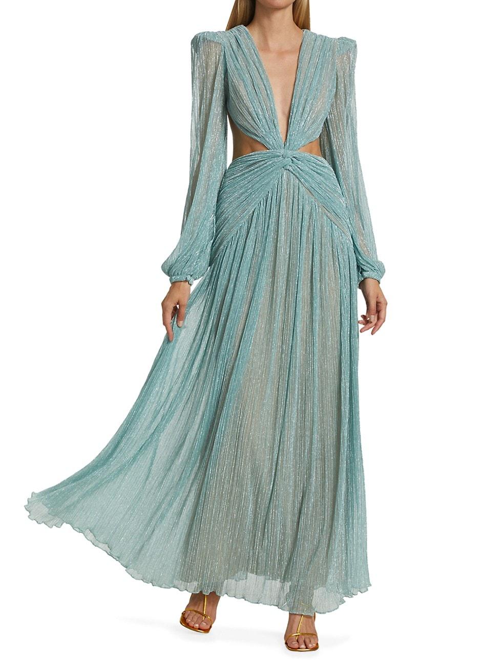 Sea foam green shimmery long sleeve gown for summer.
