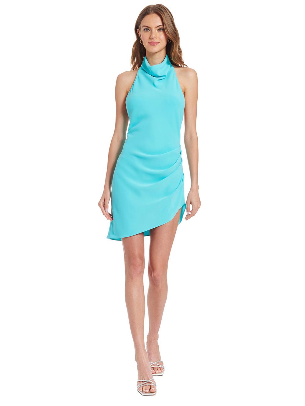 Aqua blue halter neck mini dress for summer.