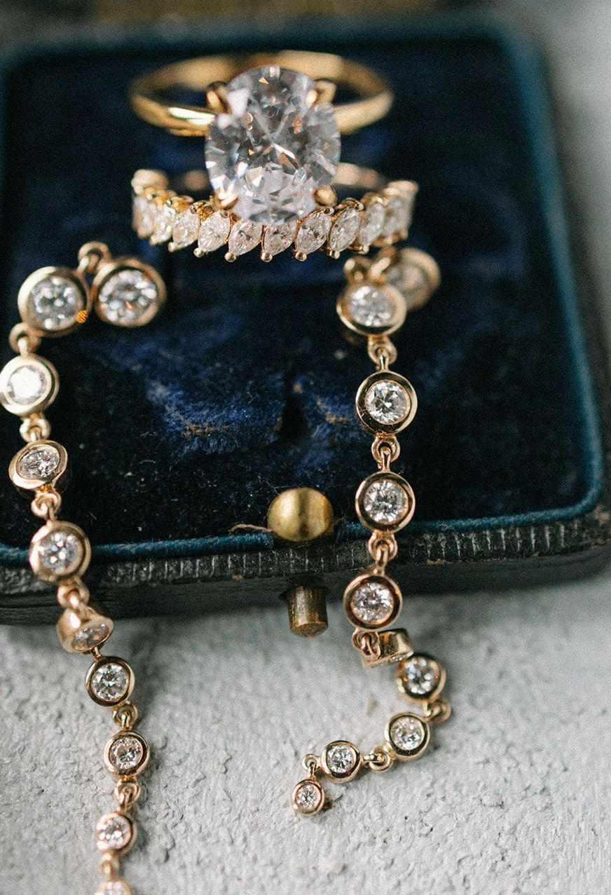Close-up of the artfully curated jewelry used for the southern styled shoot at The Mansion at ColoVista.
