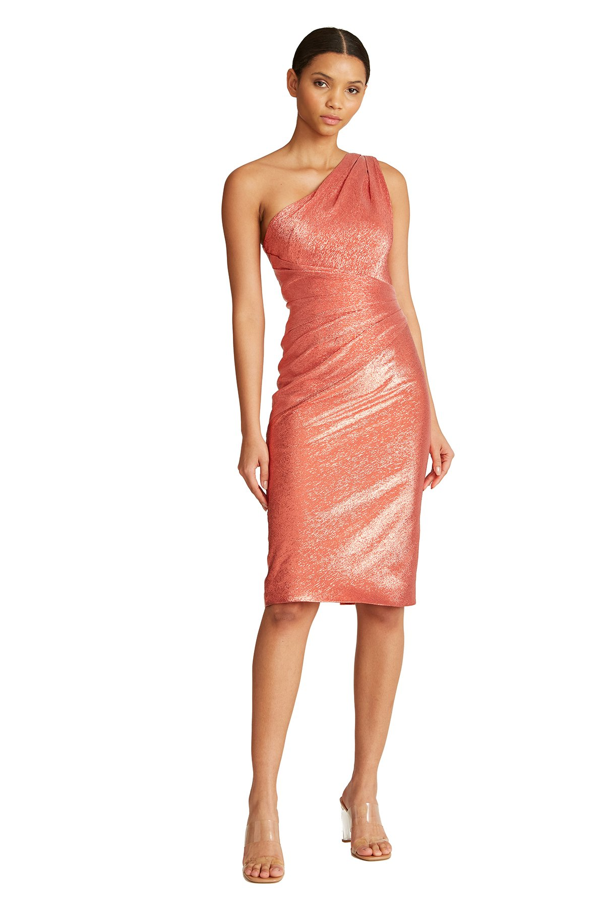 One shoulder sleeve coral sparkling fitted midi dress for summer wedding guest