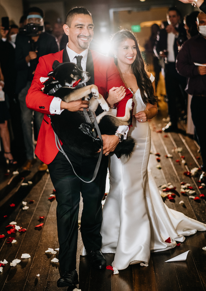 The bride and groom walk out for their send-off. The groom is holding their dog and rose petal are behind thrown in the air.